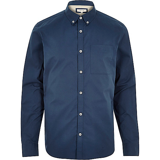 Blue twill button-down shirt