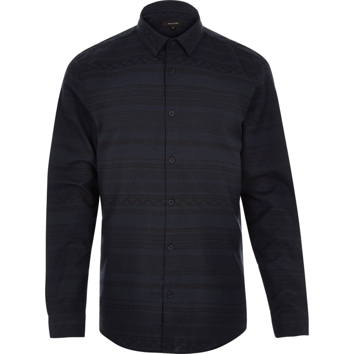 Navy geometric print flannel shirt