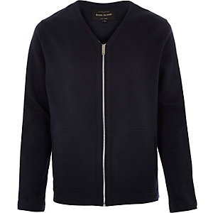 Navy zip-up sweater style cardigan