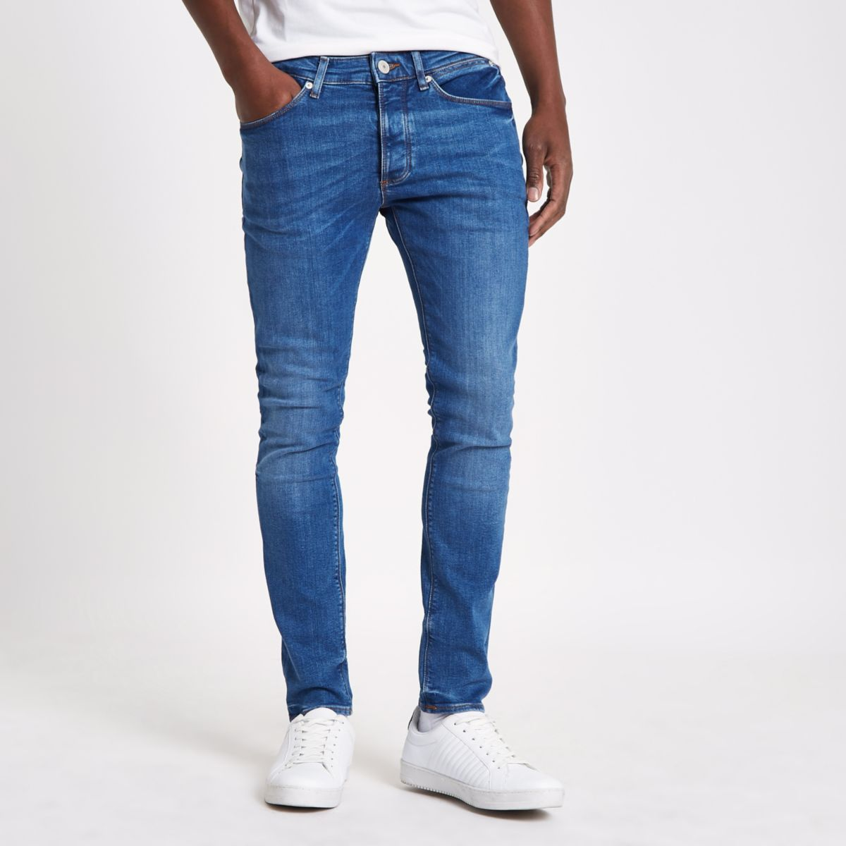Mid blue wash fade skinny Sid jeans - Skinny Jeans - Jeans - men
