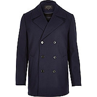 Navy smart textured double breasted pea coat