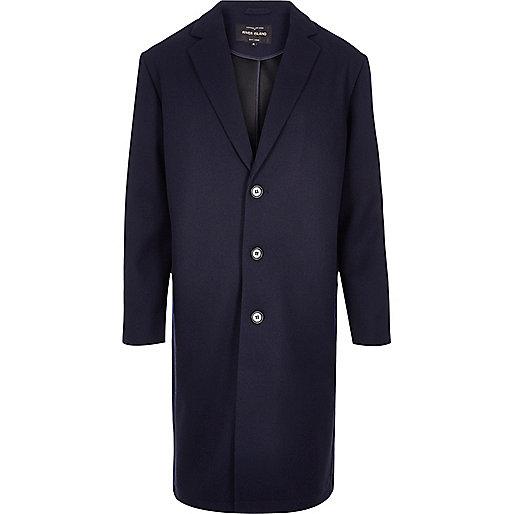 Navy smart mesh overcoat