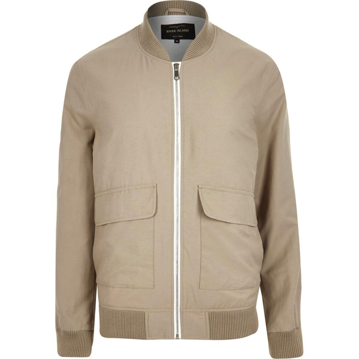 Stone beige bomber jacket