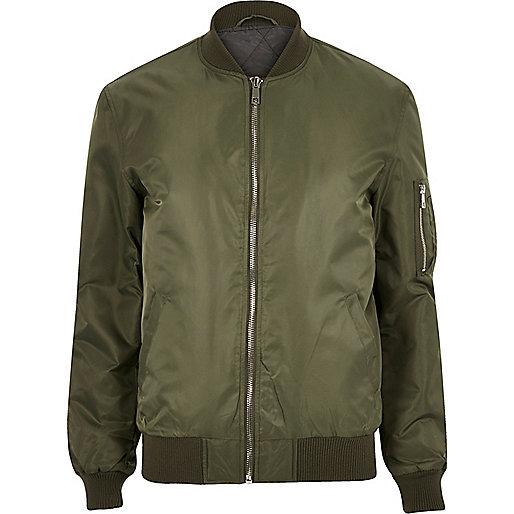 Khaki padded MA1 bomber jacket