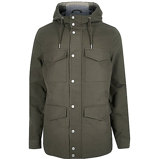 Khaki green four pocket coat