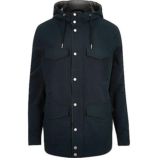 Navy blue four pocket coat