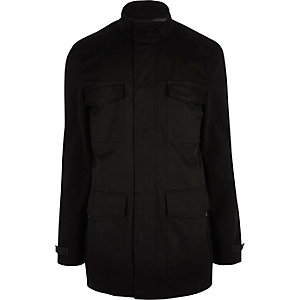 Black minimal four pocket jacket