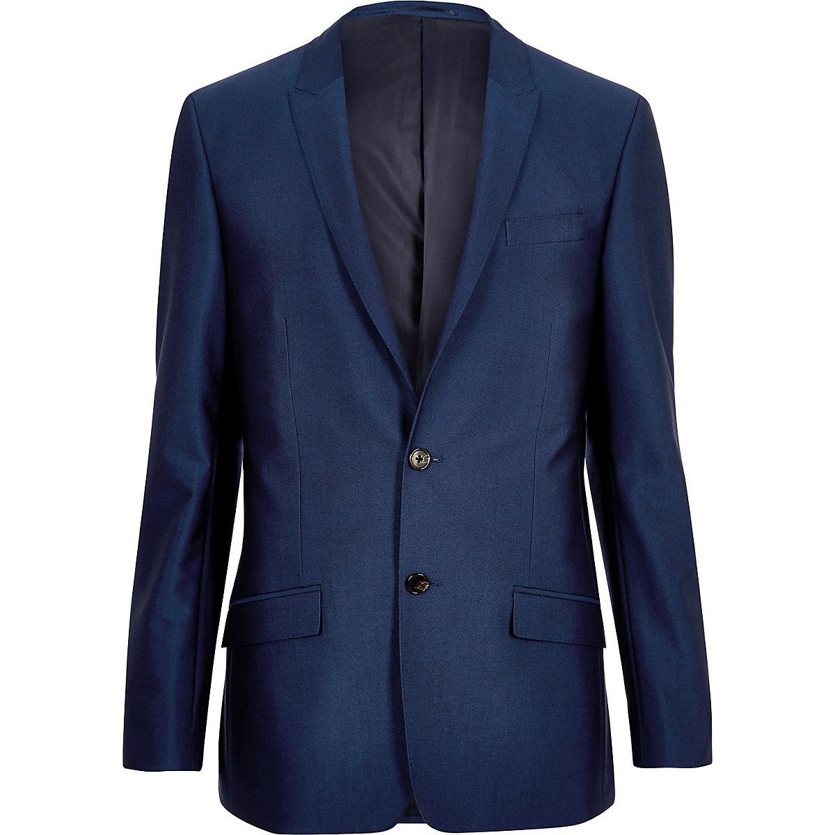 Veste de costume bleu vif skinny
