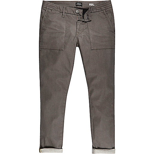 Brown turn-up Sid skinny stretch jeans