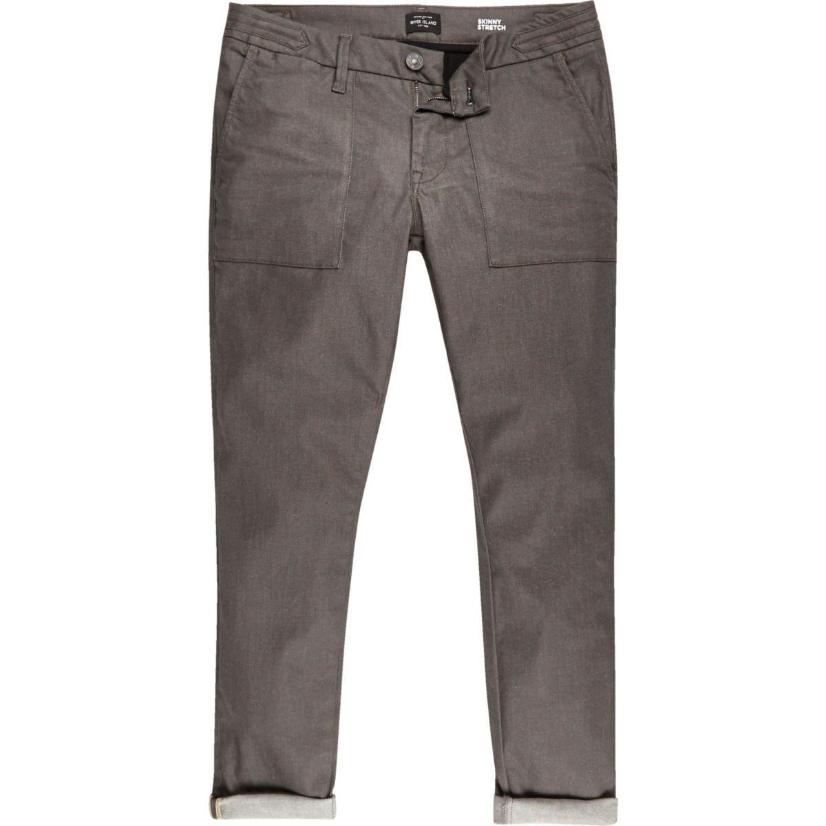 Sid – Umgeschlagene Skinny Jeans in Braun