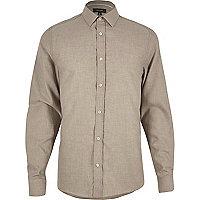 Beige herringbone slim shirt