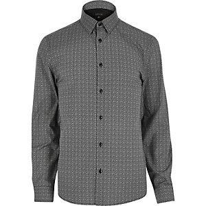 Black smart fine print shirt