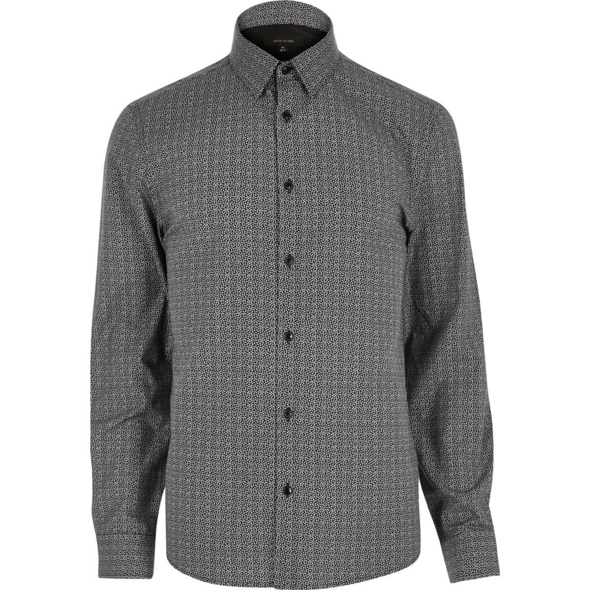 Chemise à micro imprimé noire habillé