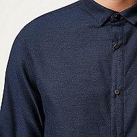 Navy textured half placket shirt