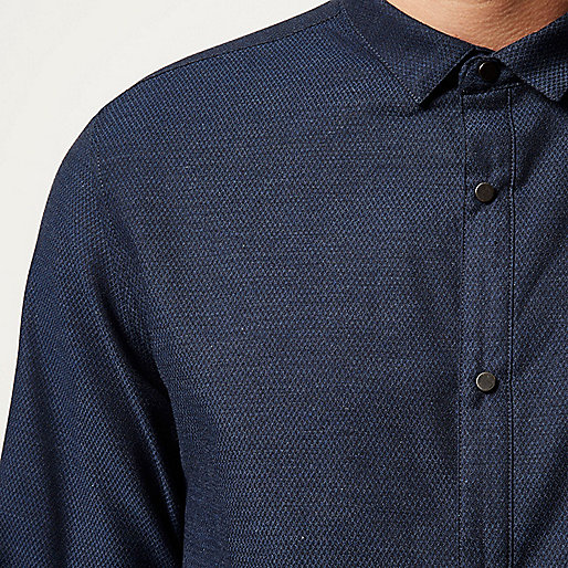 Navy textured half placket shirt