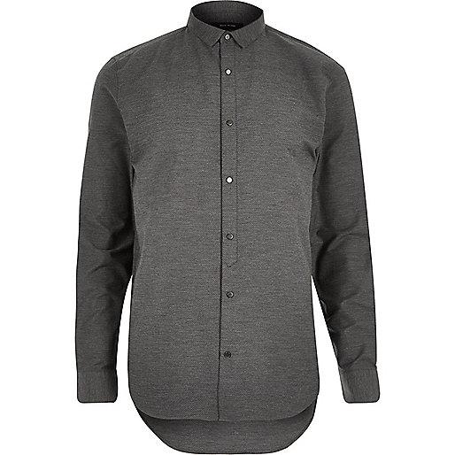 Grey textured half placket shirt