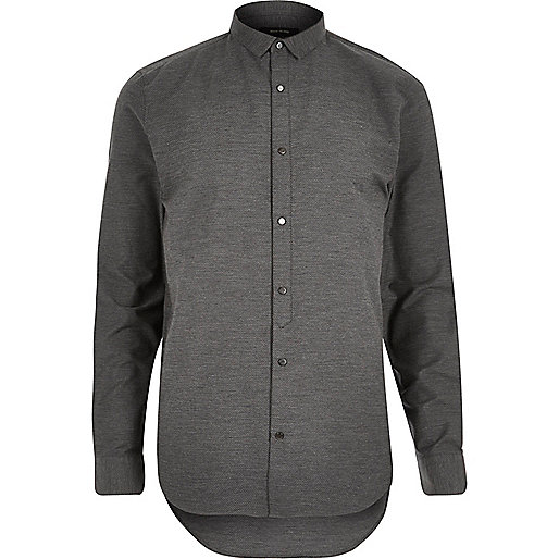 Grey textured half placket shirt