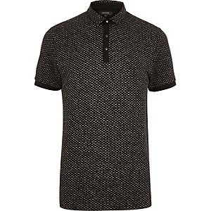 Black jacquard polo shirt