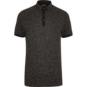 Black jacquard polo shirt