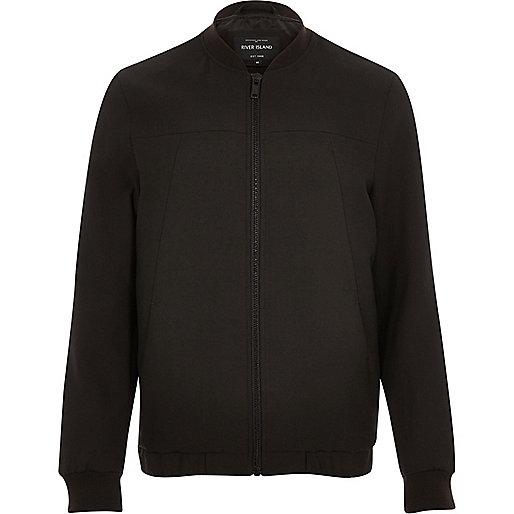 Dark brown smart tailored bomber jacket