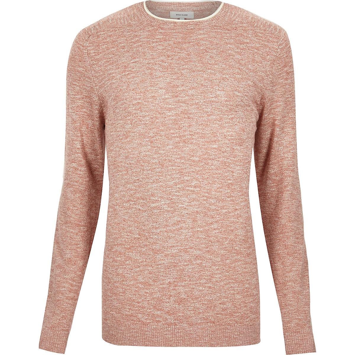 Light red marl crew neck long sleeve sweater