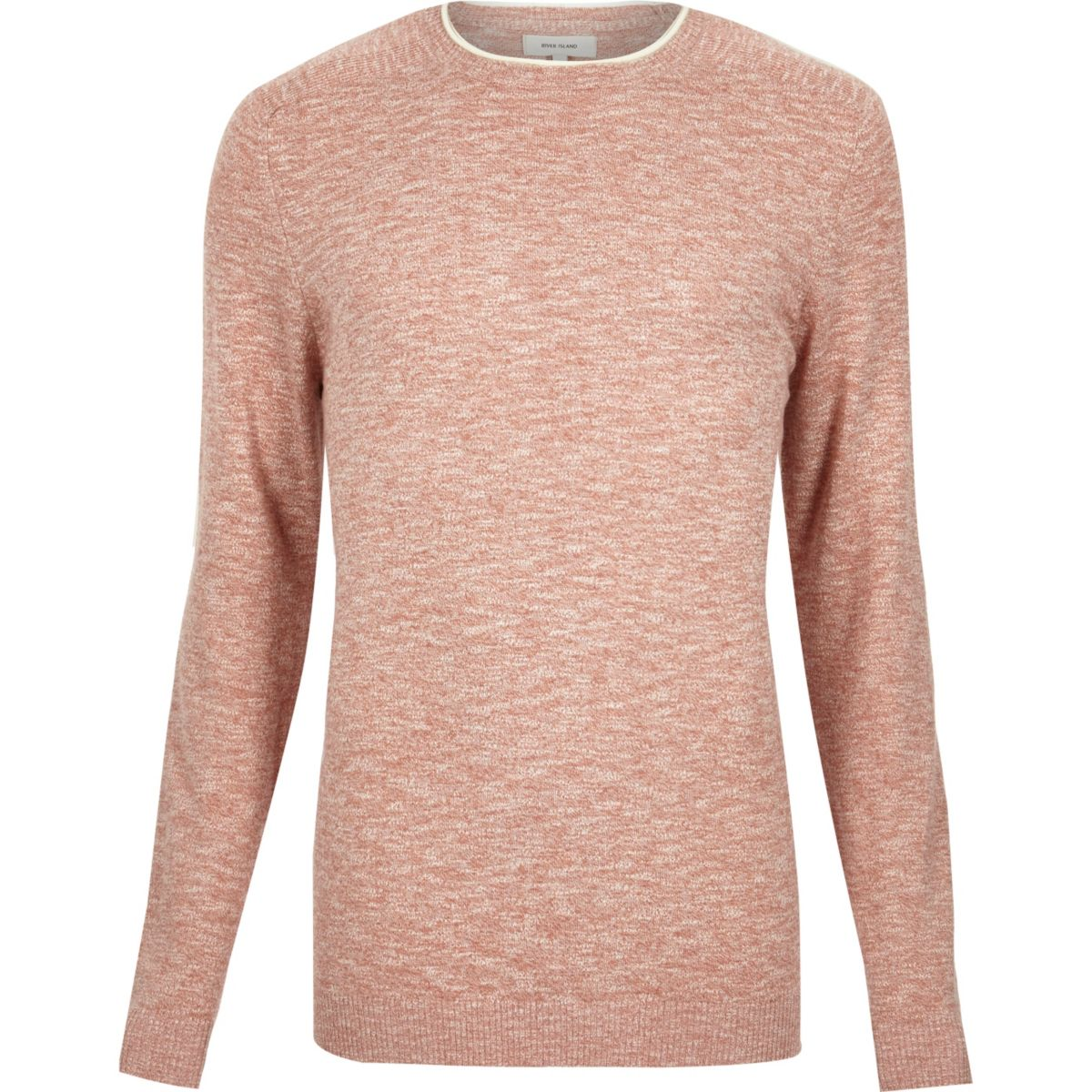 Light red marl crew neck long sleeve jumper