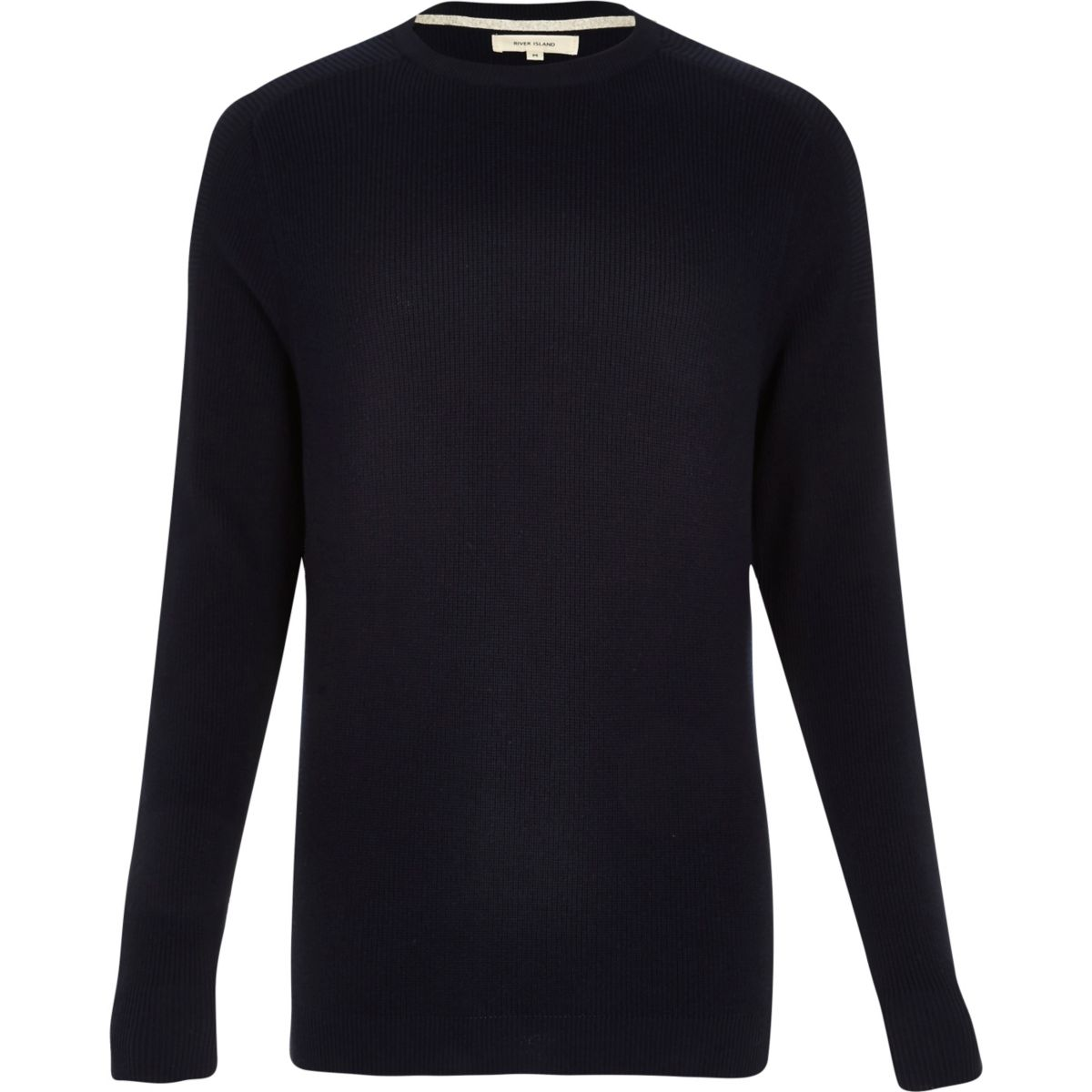 Navy textured knitted crew neck sweater