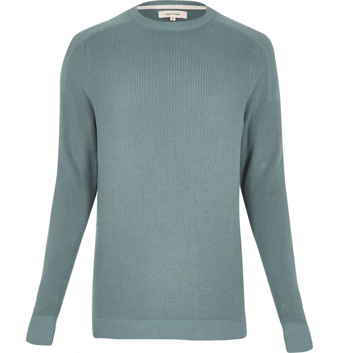 Teal ribbed crew neck long sleeve sweater