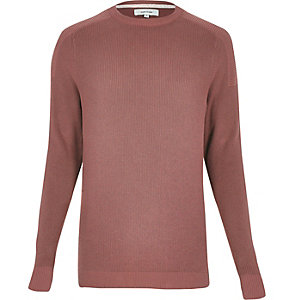 Pink ribbed crew neck long sleeve sweater