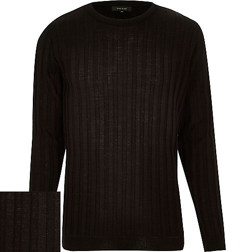 Black wide ribbed long sleeve sweater