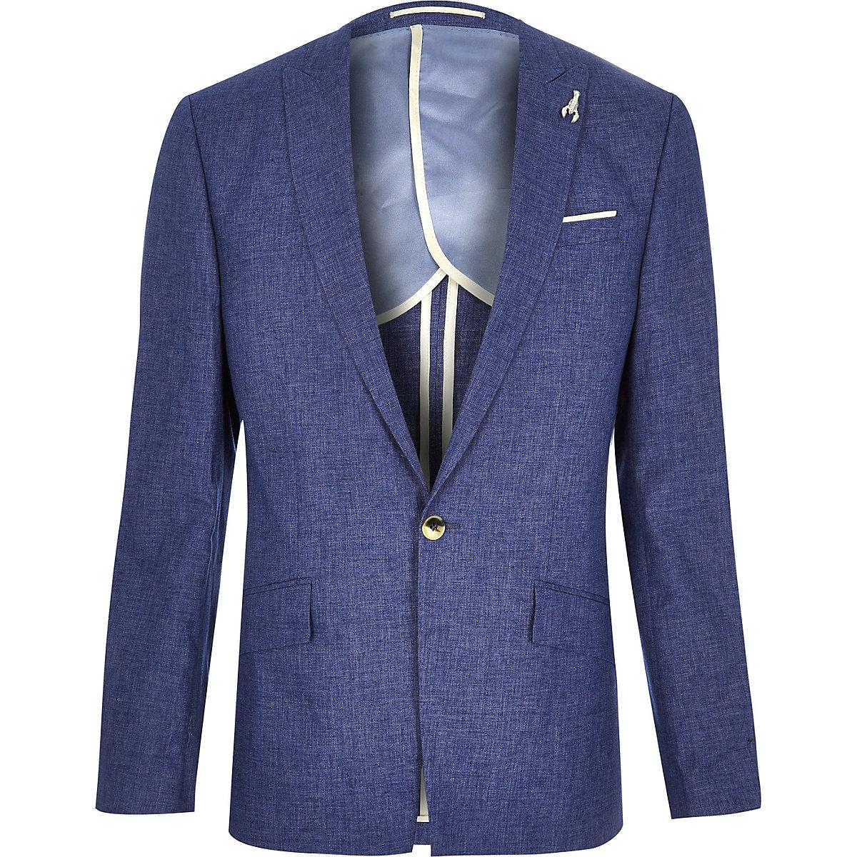Blue linen slim fit suit jacket