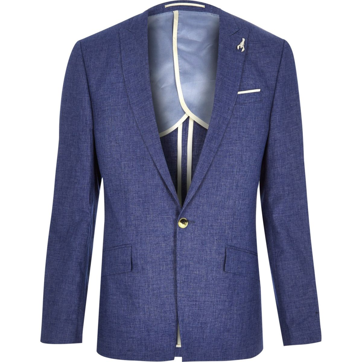 Blue linen slim fit suit jacket - Seasonal Offers - Sale - men
