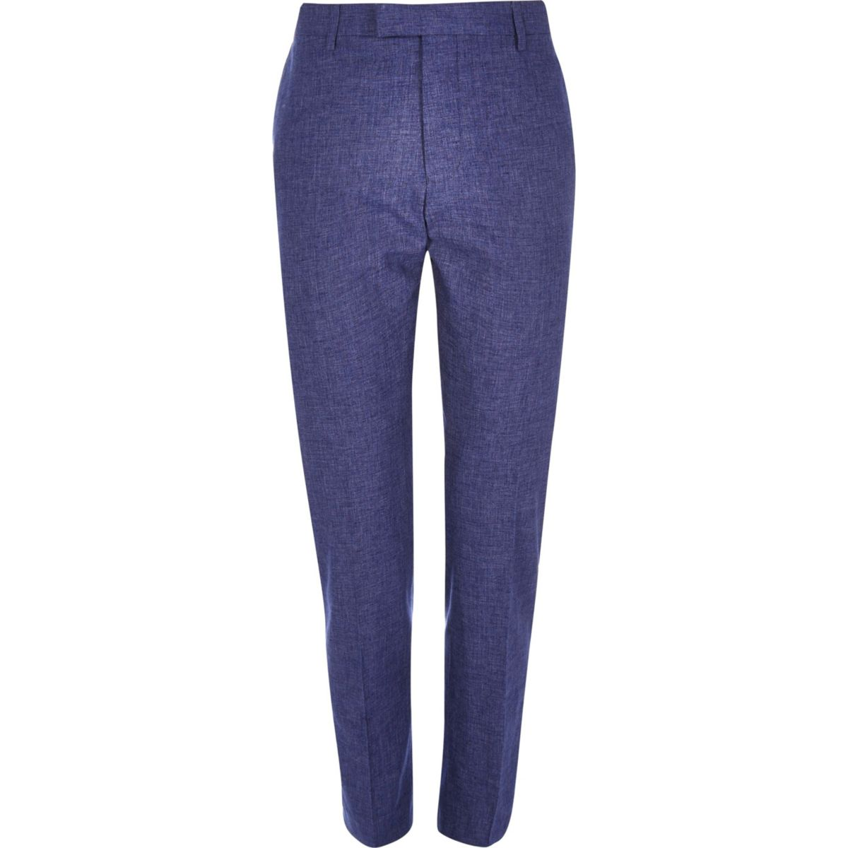 Blauwe linnen slim-fit pantalon