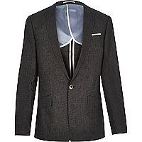 Black linen slim fit suit jacket