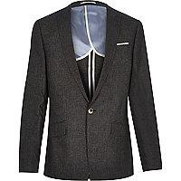Veste de costume en lin noire cintrée