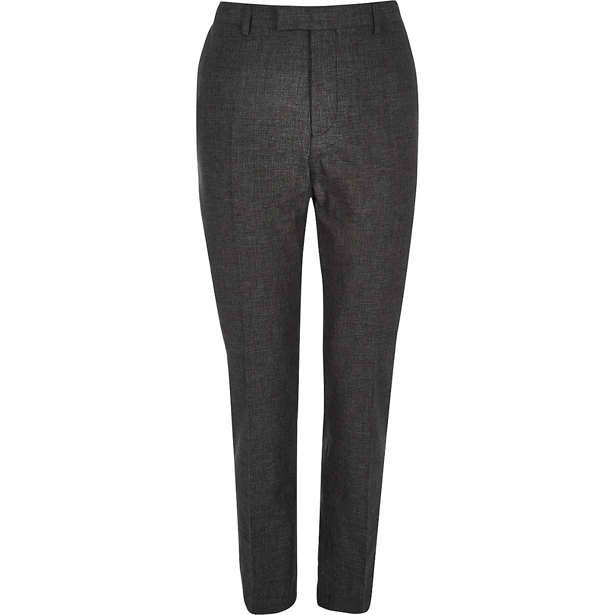 Black linen slim fit suit trousers