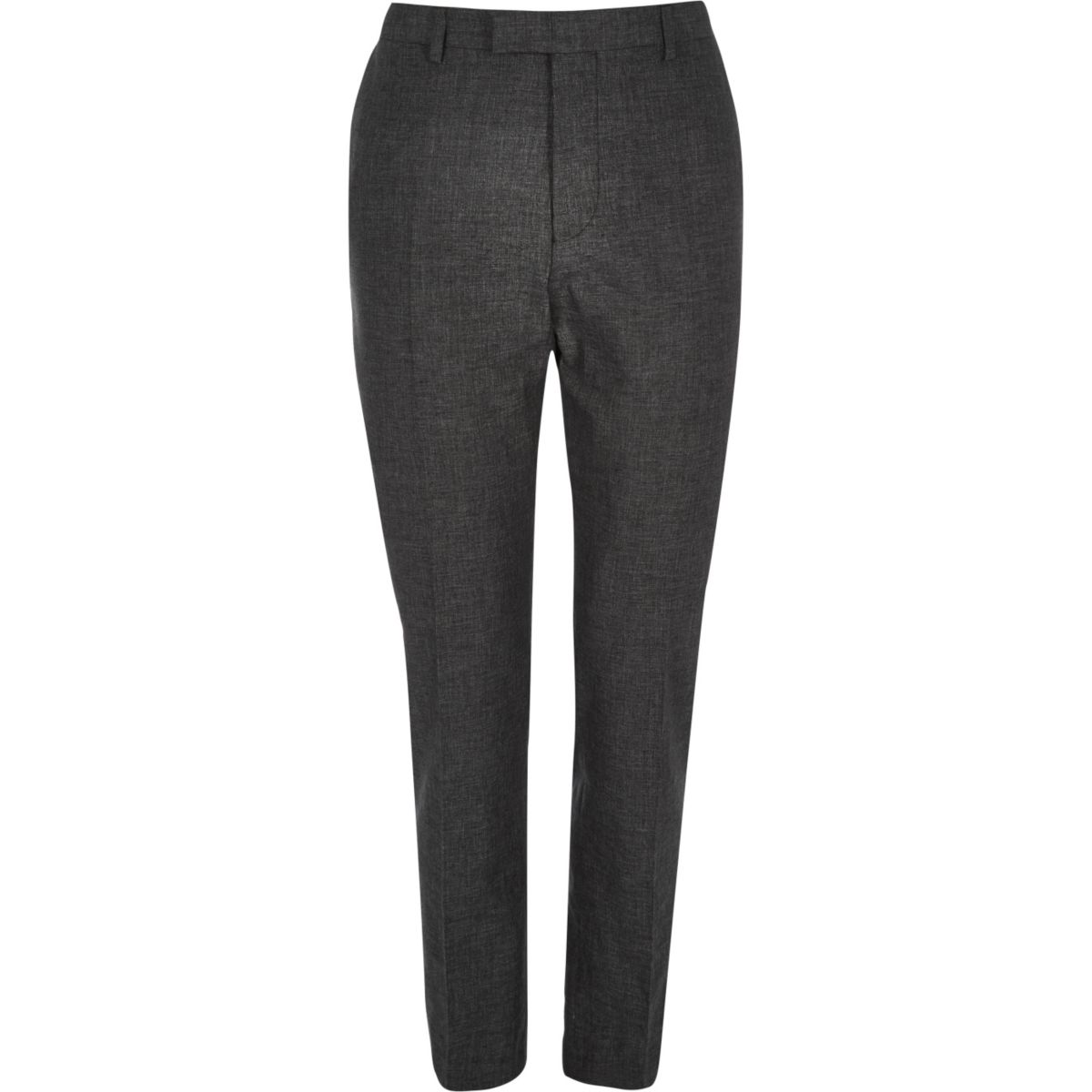 Zwarte linnen slim-fit pantalon
