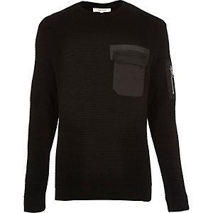 Black knitted minimal pocket sweater