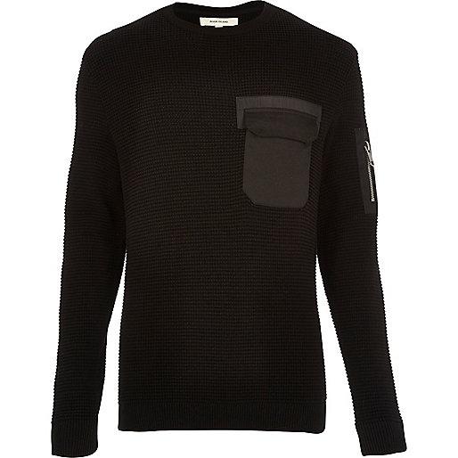 Black knitted minimal pocket jumper