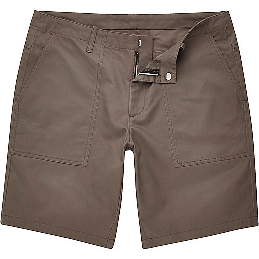 Grey casual slim fit bermuda shorts