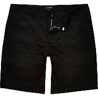 Black casual slim fit bermuda shorts
