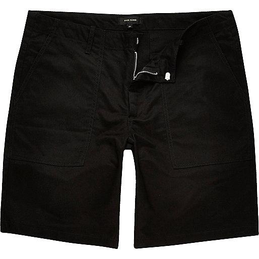 Black casual slim fit bermuda shorts