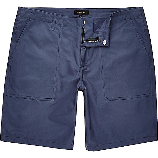 Blue casual slim fit bermuda shorts