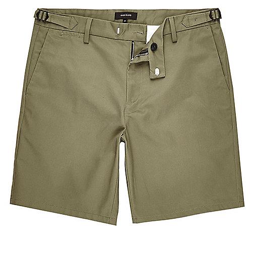 Khaki slim fit chino buckle shorts