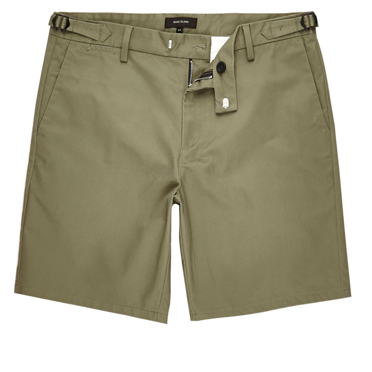 Khaki slim fit chino buckle shorts