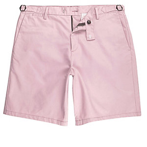 Pink slim fit chino shorts