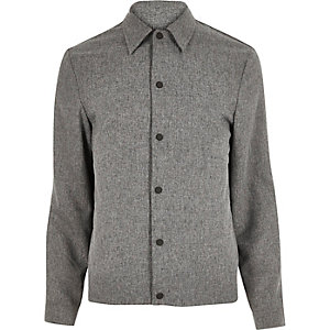 Grey melange popper harrington jacket