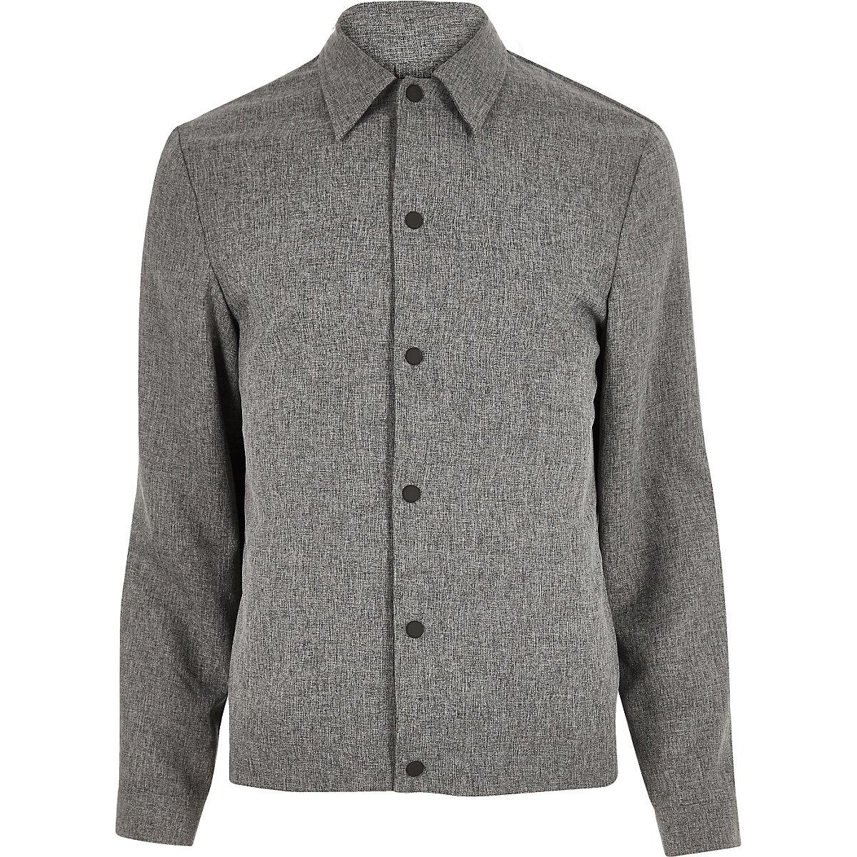 Grey melange popper harrington jacket