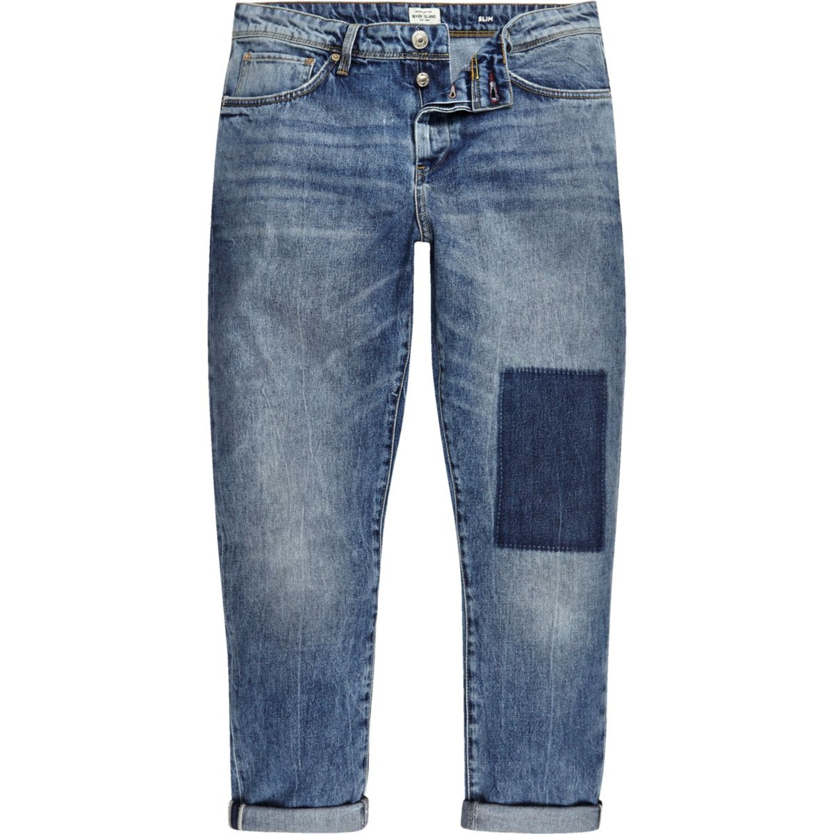 Mid wash patchwork Jimmy slim tapered jeans