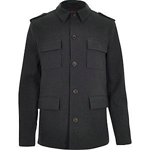 Dark blue four pocket military coat